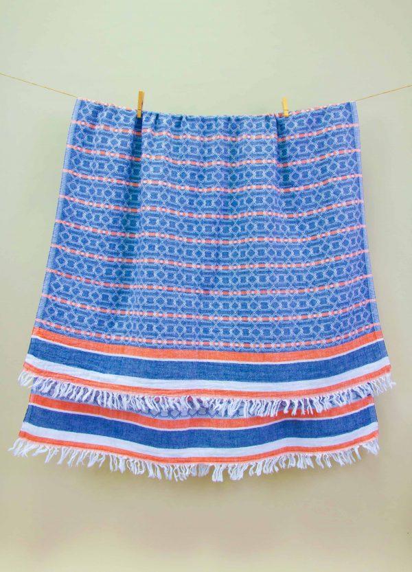 купить Полотенце Barine Pestemal - Sailor Oranj-Navy 90x160