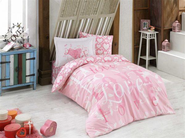купить Постельное Белье Hobby Poplin Love Розовый 160x220