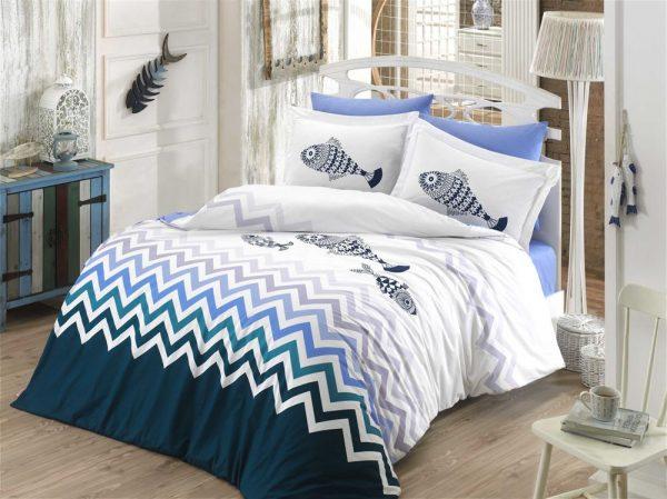 купить Постельное Белье Hobby Poplin Ocean Голубой 200x220