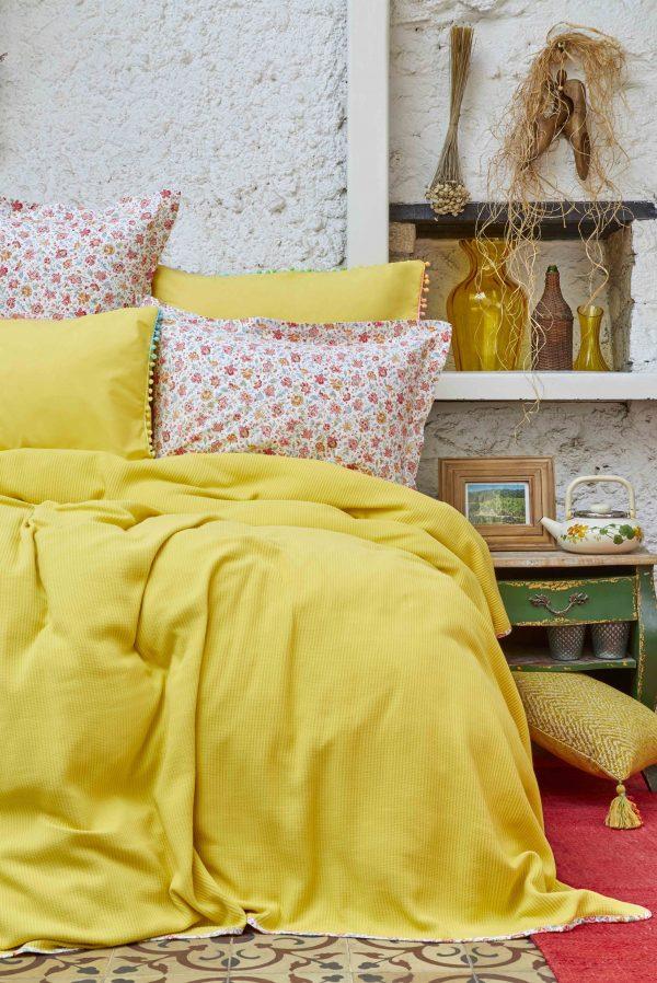 купить Постельное белье Пике Karaca Home - Picata sari 2018-2 200x220