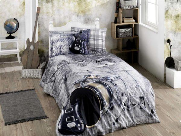 купить Постельное белье ТМ Hobby Poplin Rock Music grey 160x220