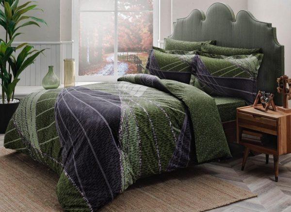 купить Постельное белье ТМ TAC Borneo green Сатин Delux 200x220