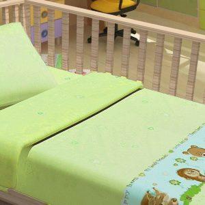 Постельное белье для младенцев Kidsdreams – Лесные зверята зеленое 100×150