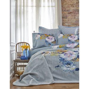 Постельное белье с пледом Karaca Home Lenusy yesil 2018-1 200×220