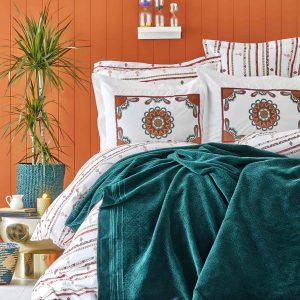 Постельное белье с пледом Karaca Home Mosi Zumrud 2019-1 200×220