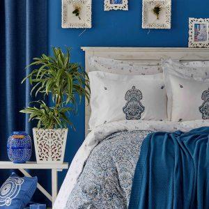 Постельное белье с пледом Karaca Home Paula indigo 2019-1 200×220