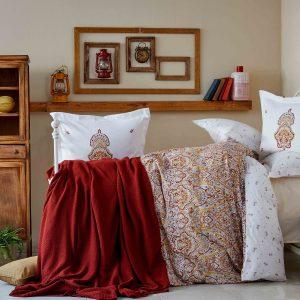 Постельное белье с пледом Karaca Home Paula kiremit 2019-1 200×220