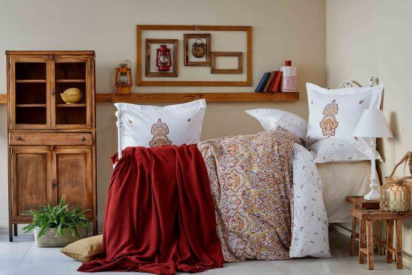 купить Постельное белье с пледом Karaca Home Paula kiremit 2019-1 200x220