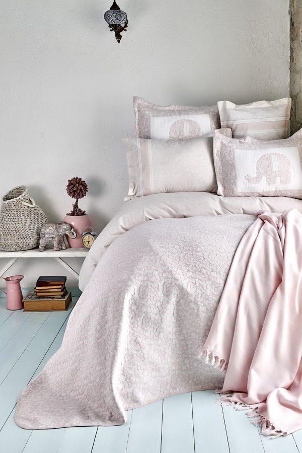 купить Постельное белье с покрывалом и Пике Karaca Home - Zilonis pudra 2019-2 200x220