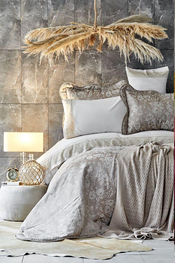 купить Постельное белье с покрывалом и пледом Karaca Home - Ennea gold 2019-2 200x220