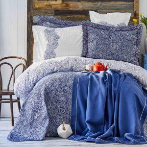 Постельное белье с покрывалом + плед Karaca Home Simi mavi 2018-2 200×220