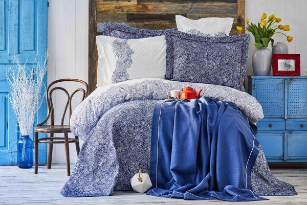 купить Постельное белье с покрывалом + плед Karaca Home Simi mavi 2018-2 200x220