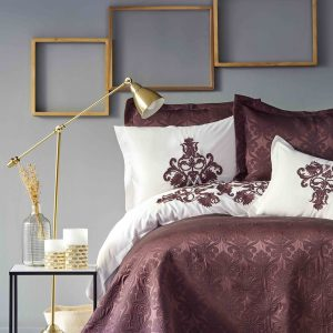 Постельное белье с покрывалом Karaca Home – Diana bordo 2019-2 200×220