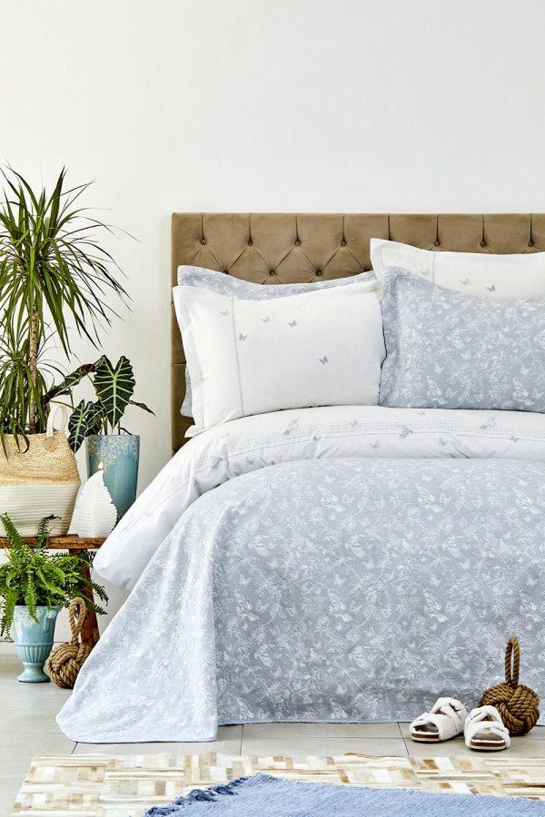купить Постельное белье с покрывалом Karaca Home - Mariposa gri 2019-1 200x220