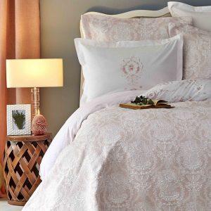 Постельное белье с покрывалом Karaca Home – Quatre delux pudra 2019-2 200×220