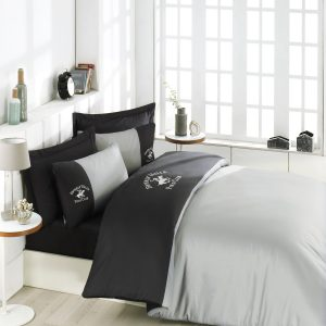 Постельное белье Beverly Hills Polo Club сатин BHPC 106 Antracite Grey 200×220