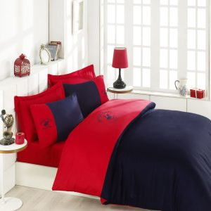Постельное белье Beverly Hills Polo Club сатин BHPC 106 Red Dark Blue 200×220