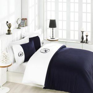 Постельное белье Beverly Hills Polo Club сатин BHPC 106 White Dark Blue Dark Blue 200×220