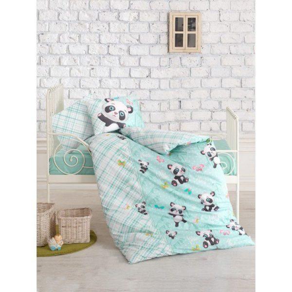 купить Постельное белье Cotton Box для новорожденных Panda Mint 100x150
