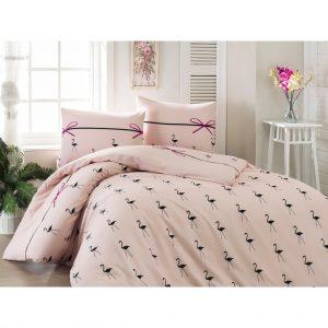 Постельное белье Eponj Home – Flamingo Pudra ранфорс 200×220