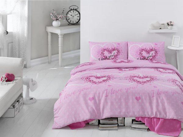 купить Постельное белье Eponj Home Sueno Pembe ранфорс 200x220