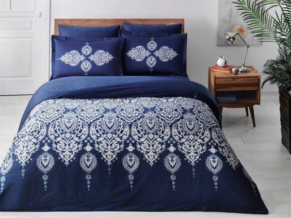купить Постельное белье King Size ТМ TAC Rados Blue Сатин Delux 220x240