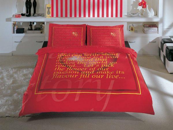 купить Постельное белье TAC сатин - Valentine kirmizi 200x220