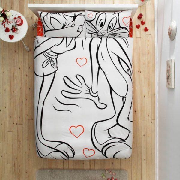 купить Постельное белье TAC Disney Freemood - Bugs Bunny & Lola Bunny Amour 200x220