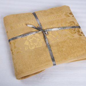купить Простынь махровая CESTEPE Bamboo Cicek Голд 200x220