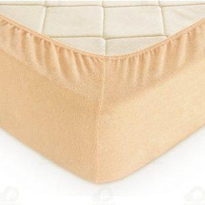 Простынь на резинке Махровая 160*200+25 оранжевый 160×220