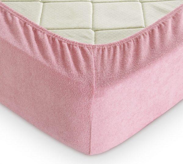 купить Простынь на резинке Махровая 160*200+25 розовый 160x220