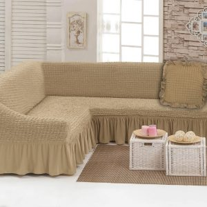 купить Чехол на угловой диван с подушкой Love You беж