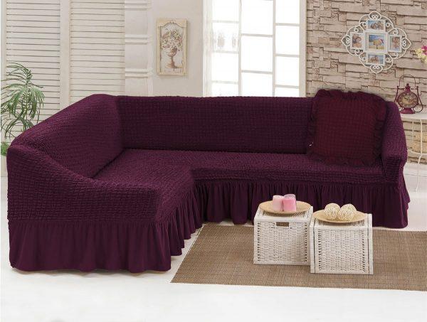 купить Чехол на угловой диван с подушкой Love You вишня