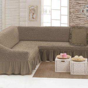 Чехол на угловой диван с подушкой Love You какао