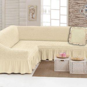 Чехол на угловой диван с подушкой Love You крем