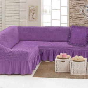 купить Чехол на угловой диван с подушкой Love You лиловый