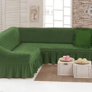 купить Чехол на угловой диван с подушкой Love You олива