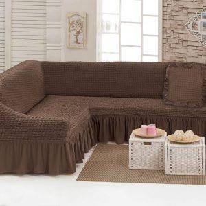 Чехол на угловой диван с подушкой Love You шоколад