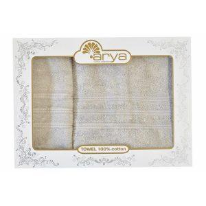 Hабор полотенец ТМ Arya Бамбук Alice Бежево-серый 50×90|70×140