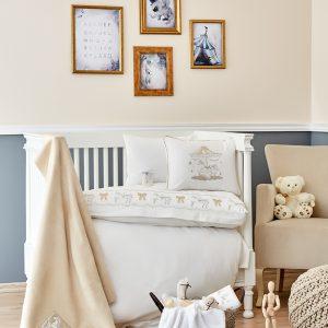 Детский набор в кроватку для младенцев Karaca Home Atlikarinca 2019-2 bej (8 предметов) 100×150