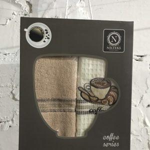 Набор вафельных кухонных полотенец Nilteks Coffee Series 2 шт 40×60