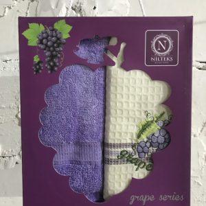 Набор вафельных кухонных полотенец Nilteks Grape Series 2 шт 40×60