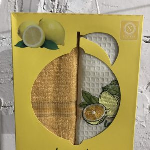 Набор вафельных кухонных полотенец Nilteks Lemon Series 2 шт 40×60