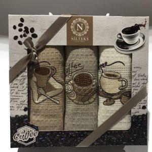 Набор кухонных полотенец Nilteks Lux Lux Coffee 40×60