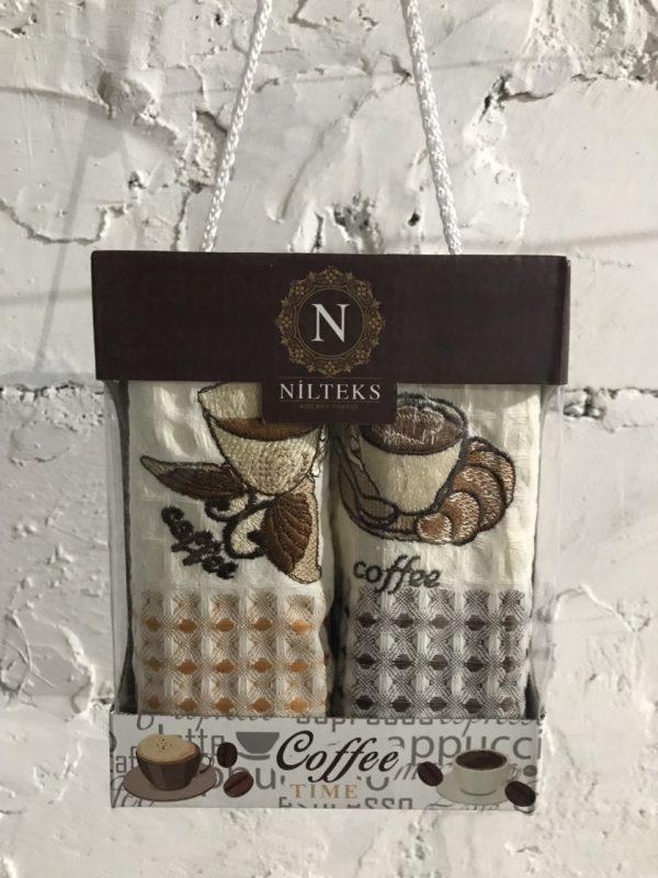Набор кухонных полотенец Nilteks Time Coffee V01 2 шт 35×50