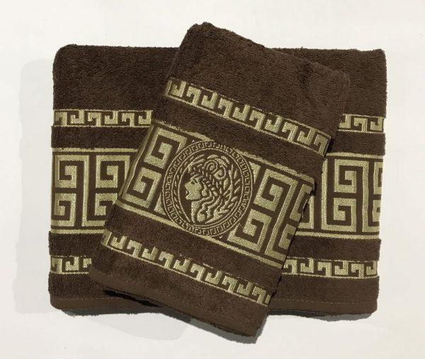 купить Набор махровых полотенец Gold Soft Life Версаче коричневый