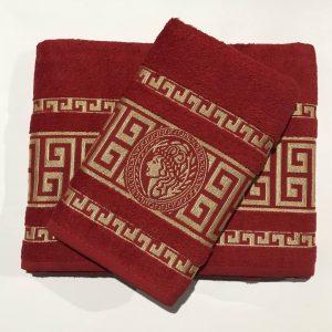 Набор махровых полотенец Gold Soft Life Версаче красный 50×90|70×140