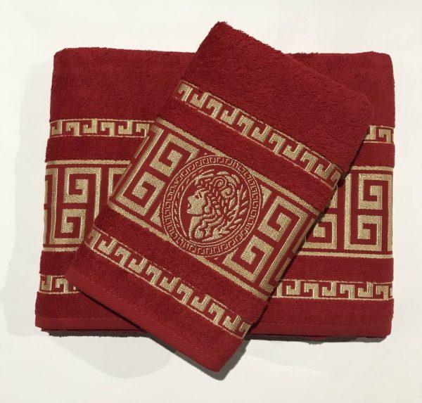 купить Набор махровых полотенец Gold Soft Life Версаче красный