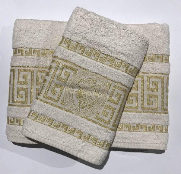 купить Набор махровых полотенец Gold Soft Life Версаче молочный