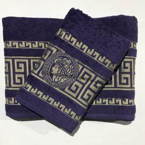 Набор махровых полотенец Gold Soft Life Версаче фиолетовый 50×90|70×140